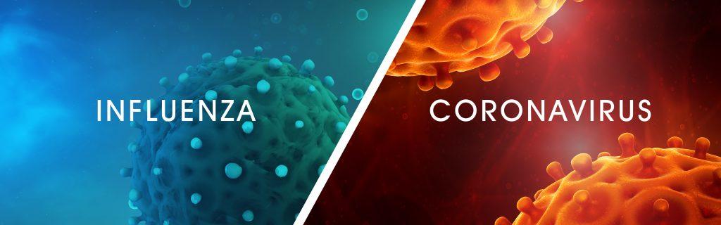 Influenza image set beside an image of the Coronavirus